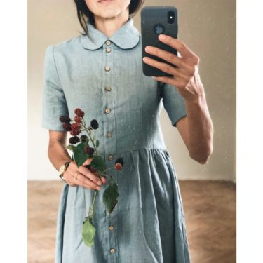 Simply Grey linnen jurk Wendy
